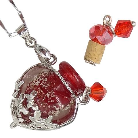 Minty Mind with Ruby Red Love Aroma Necklace