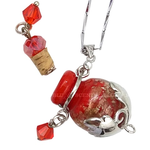 Minty Mind with Ruby Red Oval Aroma Necklace