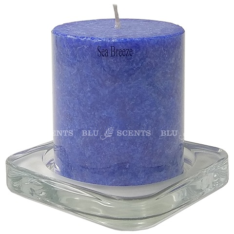 Candle Seabreeze Scented with Glass Holder Set 3 Inch