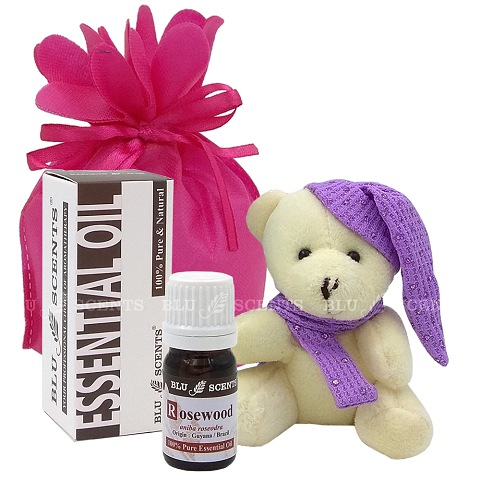 Blu Scents Rosewood Lovely Plush Bear Keychain Gift Set